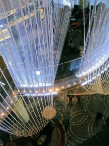The 2-story crystal chandelier at the Cosmopolitan in Las Vegas