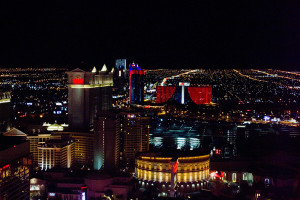 Night lights on the Strip from the High Roller.